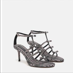 Zara Plaid Heeled Sandals